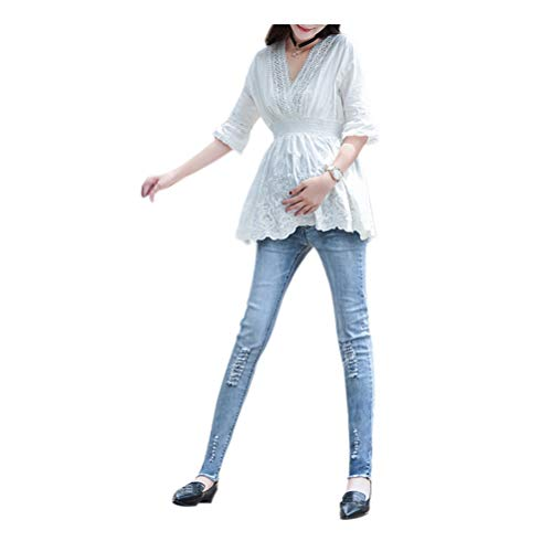 jeans Hzjundasi Pantalon Bleu En vrac Maternit 5 Dchir Ajustable Enceinte Style Gland lastique wA0f0gxvpq