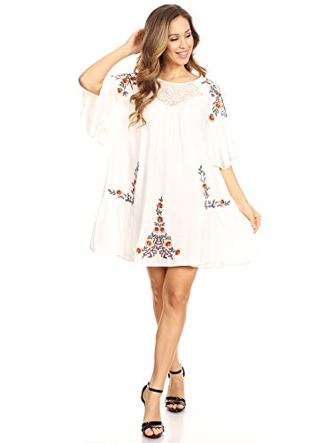 (Anna-Kaci Women's Floral Embroidered Bell Sleeve Tunic Crochet Accent Mini Dress,White,Large)