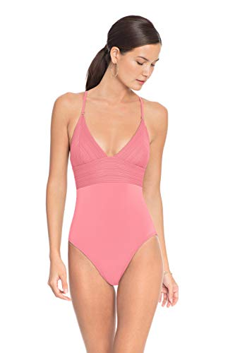 Robin Piccone Women's Lily V Neck One Piece Swimsuit Pink Lemonade 8