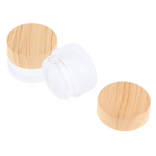 Fenteer 5 Sizes Environmental Bamboo Lid Frosted Glass Bottle Cream Jars Empty Cosmetic Comtainer 2pcs - as described, 5g