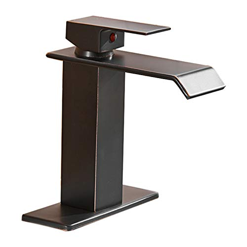 (BWE Waterfall Spout Single Handle One Hole Bathroom Sink Faucet Oil Rubbed Bronze Deck Mount Lavatory)