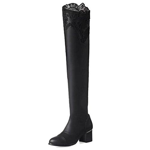 de cuero para mujer bloque moda de Heeel de hasta Botas la rodilla KingRover nwFIPx