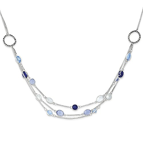 ICE CARATS 925 Sterling Silver Antiq. Multi Strand Blue/clear Cubic Zirconia Cz 18 Inch Chain Necklace Fine Jewelry Gift Set For Women Heart by ICE CARATS