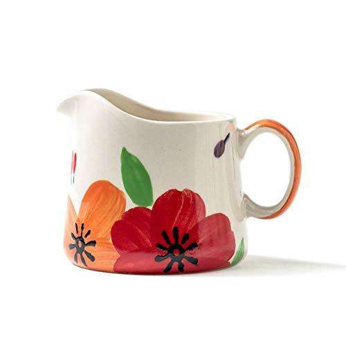 ChuXing 8oz Decorative Flower Coffee Milk Ceramic Creamer Pitcher/Sauce Serving Pitcher/Milk Creamer Jug for Kitchen