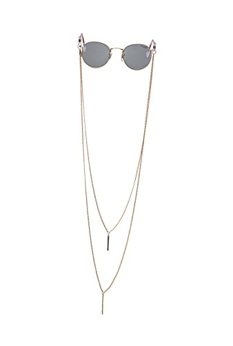 Sintillia Barre Backlace Statement Sunglass Strap, Glasses Chain, Eyeglass Cord (Gold with Clear Attachments)