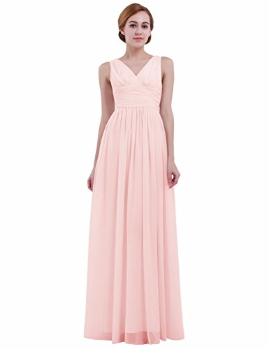 iEFiEL Women V Neck Empire Waist Chiffon Bridesmaid Dress Long Evening Prom Gown Pale Pink 4