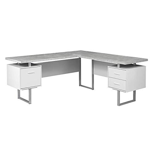 (Monarch Specialties I 7307 Computer Desk Left or Right Facing White / Cement-Look 70