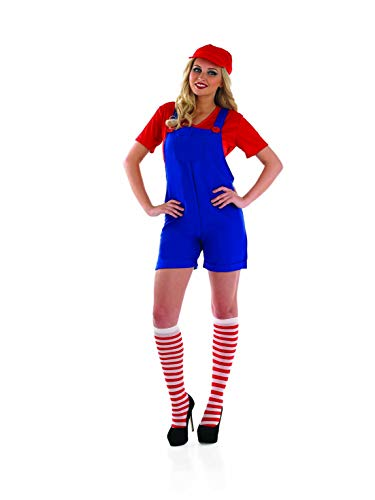 Womens Luigi Costume Mario Bros Green Plumber Brothers Overalls Outfit -Medium -