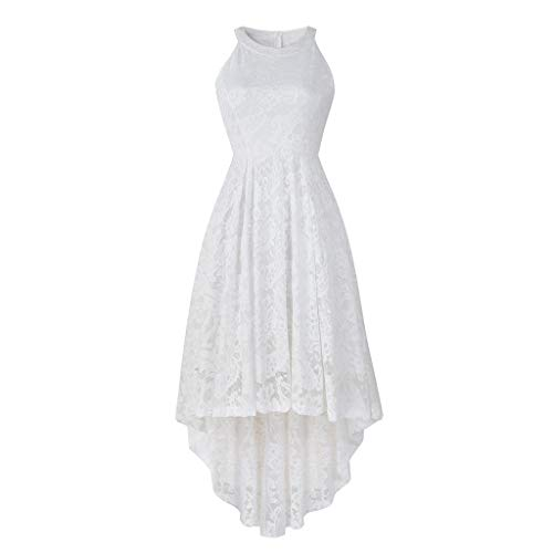 Women's Vintage Floral Lace Sleeveless Hi-Lo Cocktail Formal Swing Dress Swing Dress Prom Bridesmaid Dress White ()