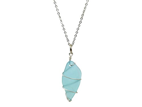 Coachellove Boho Statement Wire-Wrapped Cultured Sea Glass Beach Vibes Long Necklace, 28 Inch Length, Multiple Styles to Choose From! (Light Blue - Oneil Glasses