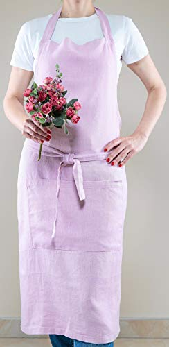 Linen Adjustable Kitchen Pink Apron Japanese Style with Pocket, Kitchen Cooking Clothes Gift for Women Chef by Saint Linen (Image #3)