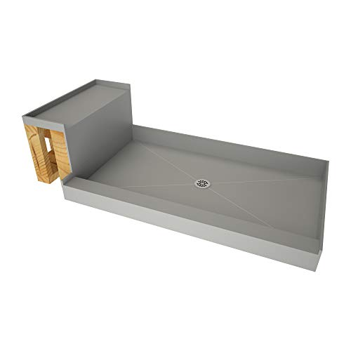Review Tile Redi USA 4248C-RB42-KIT Base'N Shower Pan and Bench, 60 W x 42 D, Polished Chrome