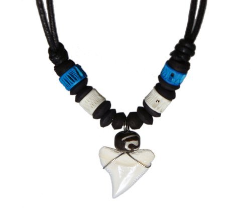 Exoticdream Real Shark Tooth Necklace Reggae Rasta Jamaican Surfer Hawaiian Beach Boys Girls Men - Blue White Bone