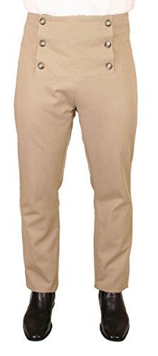 Historical Emporium Men's High Waist Cotton Regency Fall Front Trousers 38 ()