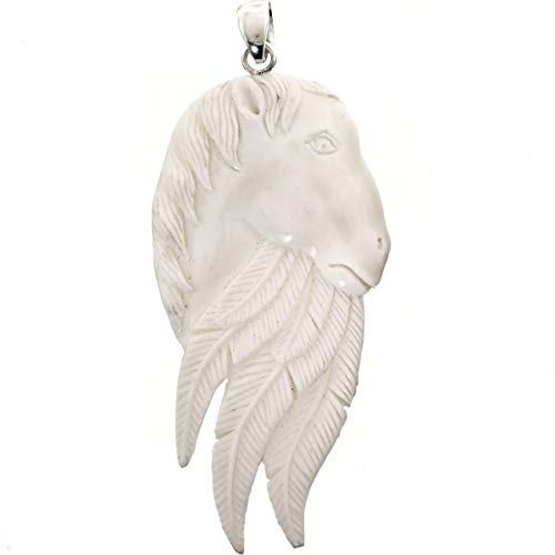 3'' Horse INDAN Feather HANDCARVED Bison Bone Carving 925 Silver Pendant YE-2298