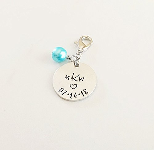 Personalized Monogram Bridal Bouquet Charm, Something New or Blue for Bride by mkw design co.