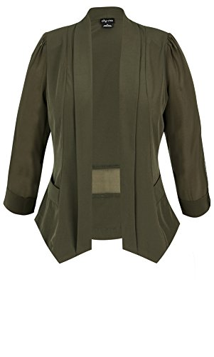 Designer Plus Size JKT DRAPEY BLAZER CO - Olive - 18 / M | City Chic