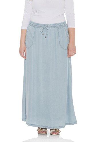 Esteez Denim Maxi Skirt for Women 100% Tencel Atlanta Bleach X-Large ()