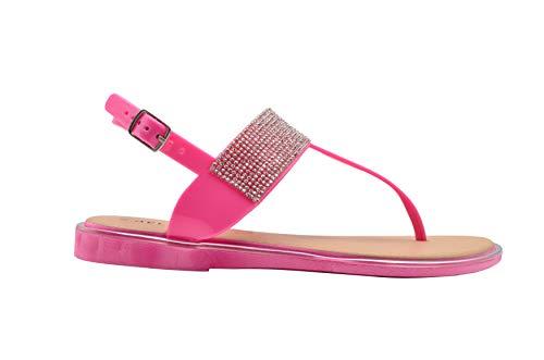 (dELiAs Ladies Sandal Size 7-8 M US PCU T-Strap Rhinestone Embellished Slip On Flip Flip Shoe Fuchsia )