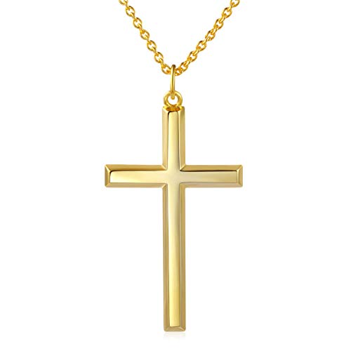 Men's 925 Sterling Silver Classic Cross Pendant Necklace 24