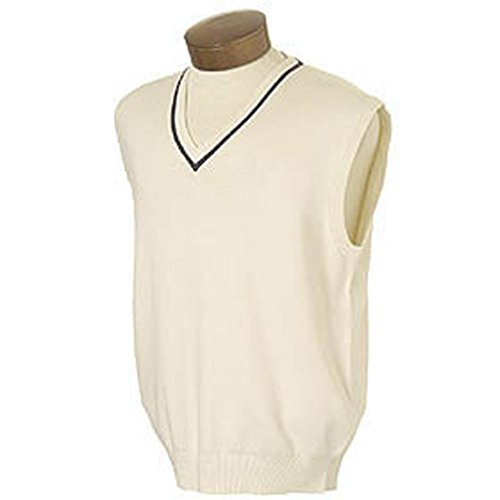 Monterey Club Men's V-Neck Sweater Vest with Tipping #1952 (Ivory,Small)