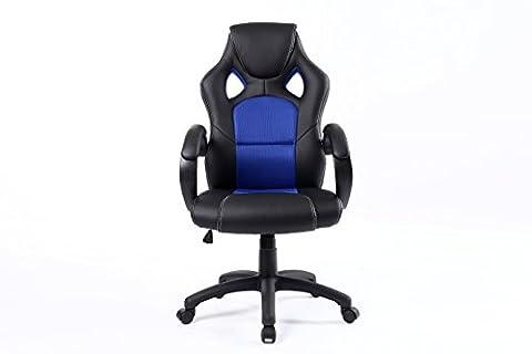 BTEXPERT Executive PU Leather High-back Swivel Racing Office Chair Ergonomic Gaming Computer Desk Bucket Seat Tilt Height Adjustment Headrest Lumbar Support - Blue