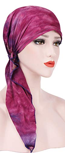 Tied Scarf Fashion (Chemo Cancer Head Scarf Hat Cap Ethnic Printed Pre-Tied Hair Cover Wrap Turban Headwear (A Rose Red Tie Dyed))
