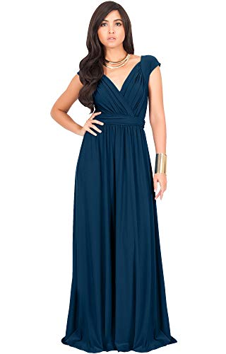 KOH KOH Petite Womens Long Cap Short Sleeve Cocktail Evening Sleeveless Bridesmaid Wedding Party Flowy V-Neck Empire Waist Vintage Sexy Gown Gowns Maxi Dress Dresses, Blue Teal S ()