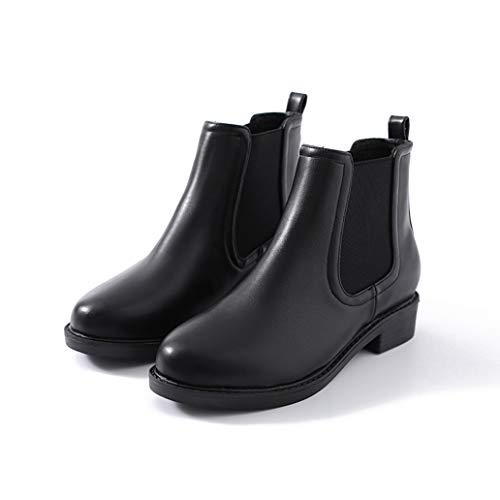 York Zhu Women's Short Boot,Autumn Winter Women Shoes Flat Leather Boots Ankle Boots ()