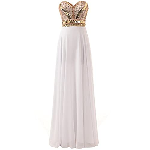 Changjie Womens Strapless White Long Sweetheart Beaded Chiffon Prom Dresses