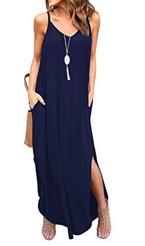 GRECERELLE Women's Summer Casual Loose Dress Beach Cover Up Long Cami Maxi Dresses with Pocket Navy Blue-S