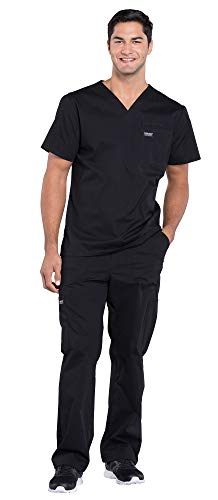 Cherokee Workwear Professionals Men's Scrub Set – WW675 V-Neck Top & WW190 Tapered Leg Drawstring Cargo Pant