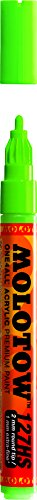 Molotow ONE4ALL Acrylic Paint Marker, 2mm, Neon Green Fluorescent, 1 Each (127.232)