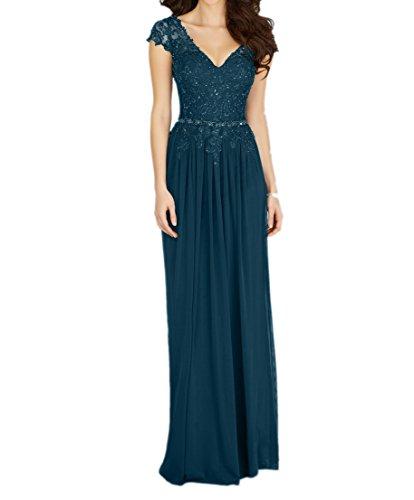Promkleider Blau Ballkleider mit Abschlussballkleider La Blau Tinte Elegant Partykleider Navy Abendkleider mia Braut Perlen Lang U6wZzqH