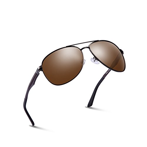 2020VentiVenti Oversized Sunglasses for Men Brown Lens Aviator Designer Aluminum Metal Frame Double Bridge Designer Military Style for Driver PT0881C8 by 2020Ventiventi