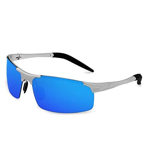 de Protección para Deportivas Al Ciclismo El Mg Pesca para Azul Ultraligero AMZTM Plateado UV Polarizadas Hombre Gafas hielo Gafas Sol q6tw0