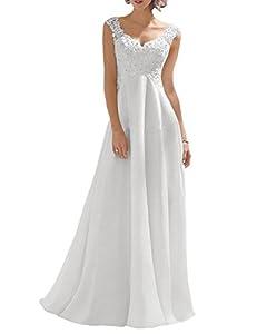 Luokadress Women's V-neck Sleeveless Lace Beaded Wedding Dress