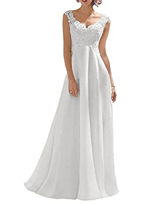 Luokadress Women's V-neck Sleeveless Lace Beaded Wedding Dress