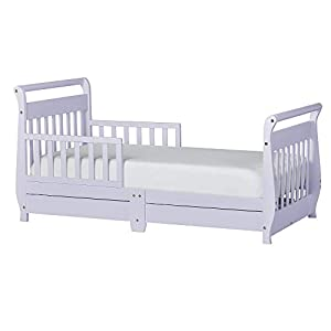 Dream On Me Sleigh Toddler Bed w/Storage Drawer, Lavender Ice