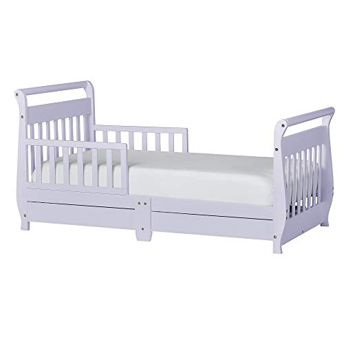 - Dream On Me Sleigh Toddler Bed w/Storage Drawer, Lavender Ice