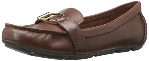 Flat Sport Brown Shoe (Anne Klein AK Sport Women's Petra Leather Loafer Flat)