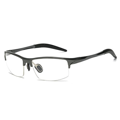 Flat Lens Eyewear Optical Glasses for Men Women Ultra Light Al-Mg Frame Semi Rimless Eyeglasses by Galulas (Gun - Rimless Shapes For Eyeglasses Lens