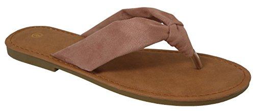 Cambridge Select Womens Soft Knot Thong Flip-Flop Slip-On Flat Slide Sandal Mauve sJKPj