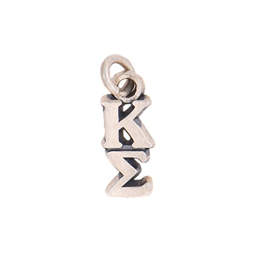 Kappa Sigma Fraternity Letter Sterling Silver or 14k Gold Lavalier Necklace with Chain Kappa Sig (Silver)