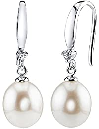 9-10mm Genuine White Freshwater Cultured Pearl & Crystal Ally Earrings Set for Women