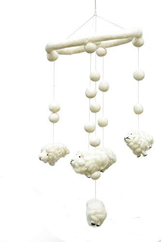 Baby Mobile, Sheep Mobile for Crib for Boys and Girls, Hand Made Wool Mobile for Crib,Nursery, Hand Made Gift and Baby Room