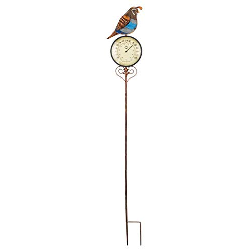 (Regal Art & Gift 7 Inches x 1.5 Inches x 46.75 Inches Thermometer Garden Stake Quail )