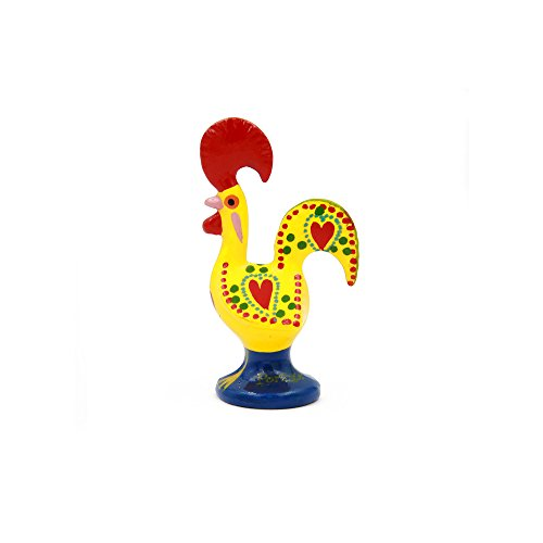 Ibergift Traditional Portuguese Aluminum Rooster Galo de Barcelos (2 1/2 Tall, Yellow)