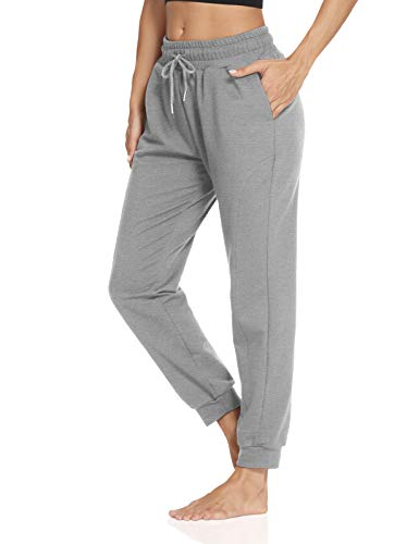 ZJCT Womens Athletic Joggers with Pockets Yoga Sweatpants Loose Drawstring Jersey Workout Casual Lounge Pants
