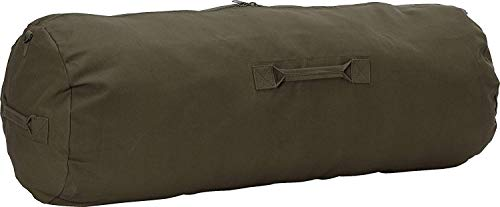 Heavy Duty Cotton Canvas SIDE ZIPPER Duffle Bag with Pin - Olive Drab, Jumbo - 42